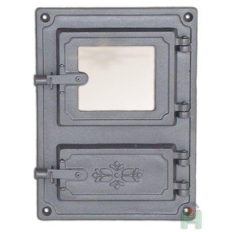 Дверца топки со стеклом с люком для золы DPK8 H1610