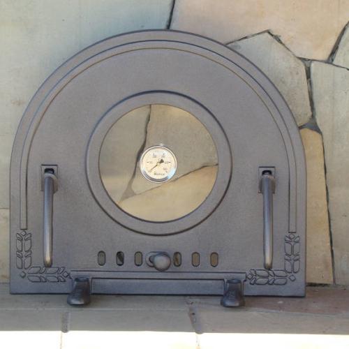 H2212 - Чугунная дверца для пиццы со стеклом и термометром ПИЦЦА 6T