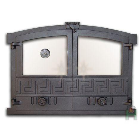 H2004 - Дверца двустворчатая со стеклом, термометром и шиберами Греция 4