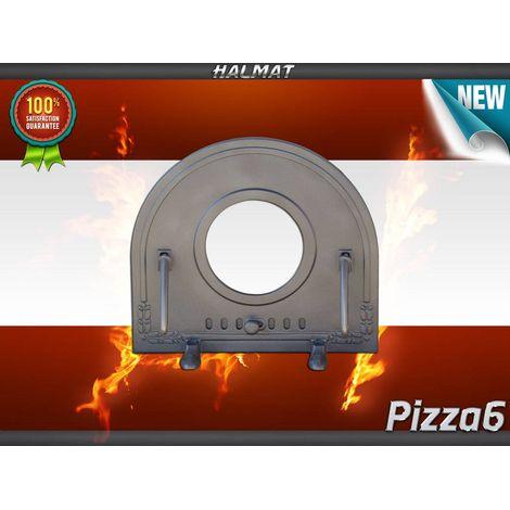 H2211 - Чугунная дверца для пиццы со стеклом ПИЦЦА 6