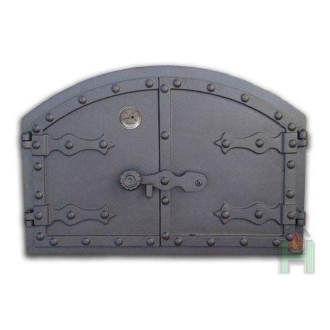 H2102 - Чугунная дверца печки с термометром Венгерская