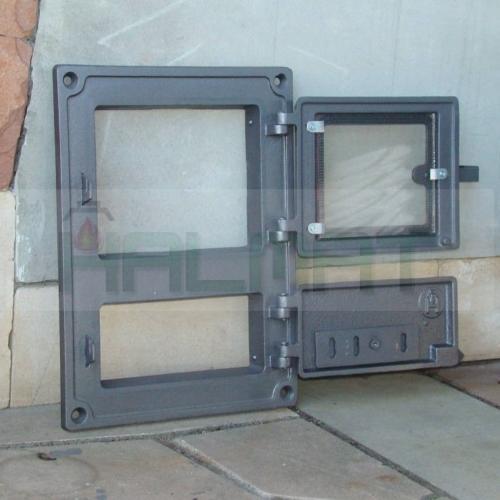 H1622 - Дверца топки со стеклом с люком для золы с шибером