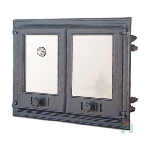 H1104 - Дверца двустворчатая со стеклом и термометром